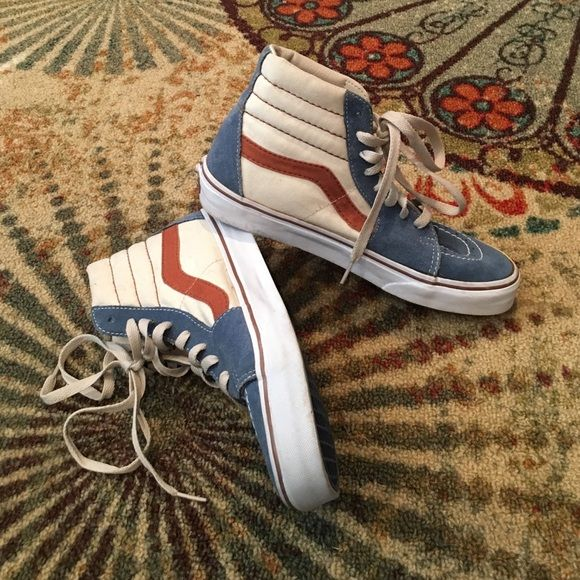 Red, White and Blue High Top Vans Red, White and Blue High Top Vans, called Hi-Sk8 vans, mens size 7 women's size 8.5 I'm actually a 9 and they fit perfectly, my sister is an 8.5 and she says they're comfortable in pretty great condition! Vans Shoes Sneakers