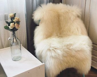 Very Big Bright Ivory Lambskin Rug. Premium Quality  by HerdDesign