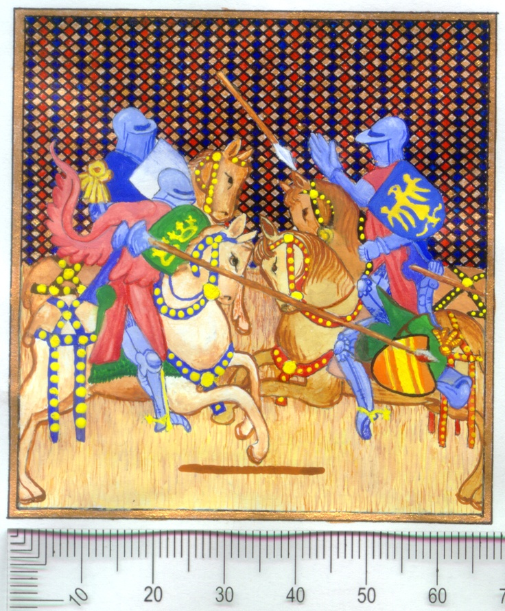 """""""Tristan jousts at the bridge"""" from the Romance of Tristan and Isolde: Gouache and Gold Leaf on Parchmentine"""