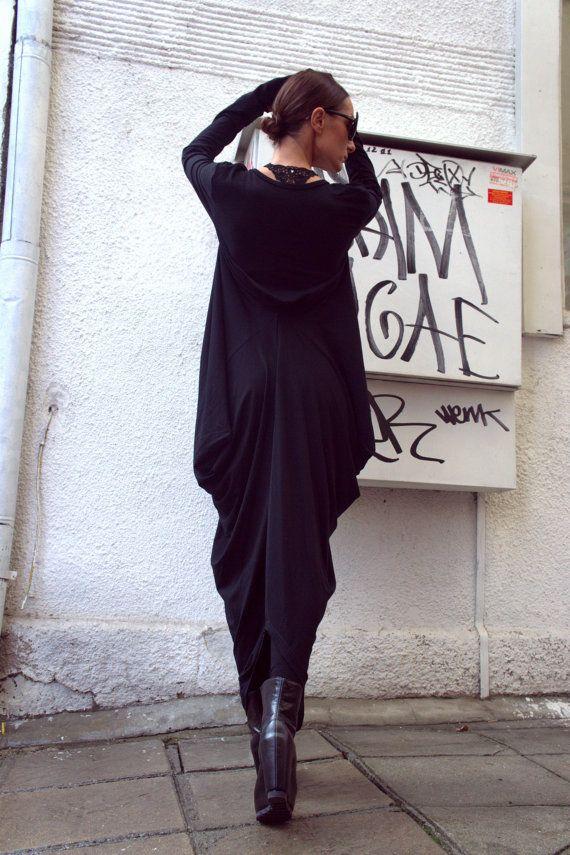 Black Asymmetric Maxi Caftan/ Loose Extra Long Sleeve by Aakasha
