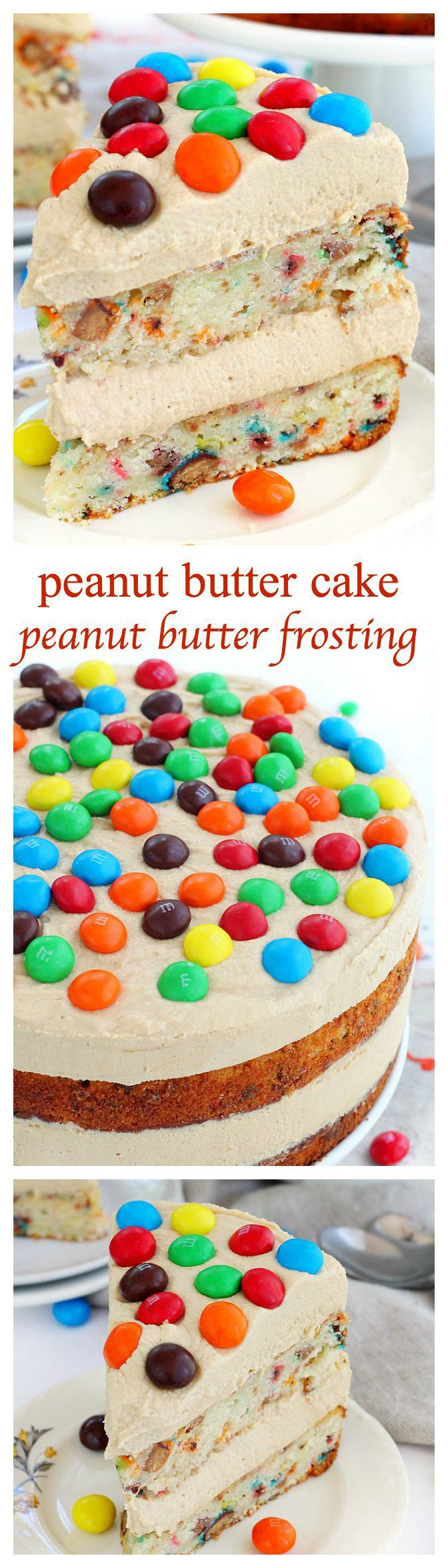 Peanut butter cake loaded with chopped Peanut Butter M&M's and a dreamy peanut butter frosting