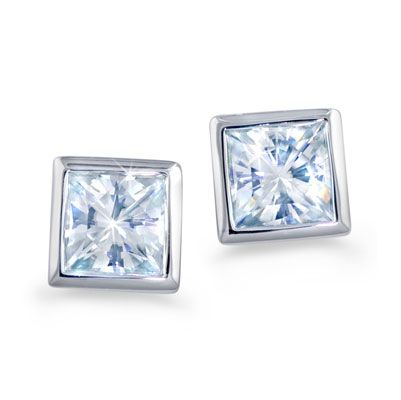 "Moi Moi Fine Jewellery - BETTINA   ""Bettina"" Earrings Bezel set studs 4.0mm Square Brilliant Moissanite, 0.42ct each 0.84 total carats  $660.00"