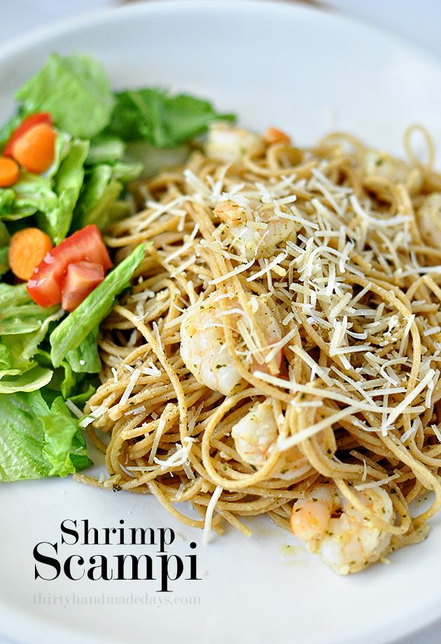 Shrimp Scampi, healthy version - perfect for a family meal using @McCormick Spice.  www.thirtyhandmadedays.com