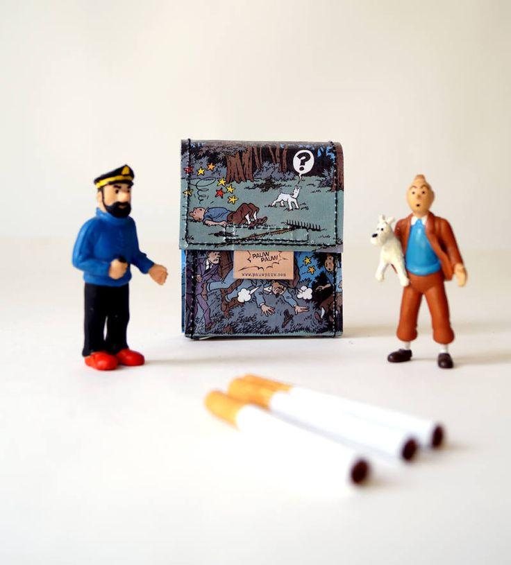TIM & STRUPPI Zigaretten Hülle Comic upcycling Unikat! PauwPauw Zigarettenetui, Zigarettenbox, TINTIN Comic Recycling made in Berlin von PauwPauw auf Etsy