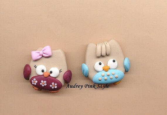 Brooches Owl kawaii in polymer clay by AudreyPinkStyle on Etsy, €10.00