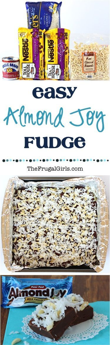 Easy Almond Joy Fudge Recipe! ~ from TheFrugalGirls.com ~ just 4 ingredients and you've got such a delicious dessert! #recipes #thefrugalgirls