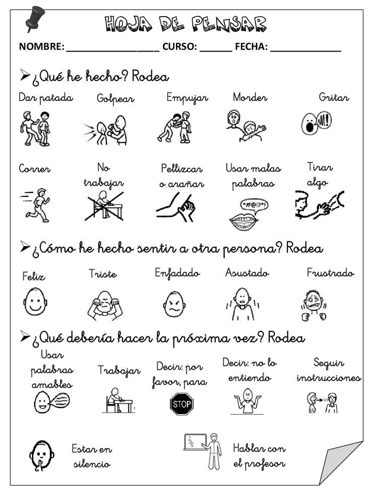 "Spanish ""Think Sheet"" for problem solving and behavior management in the classroom."