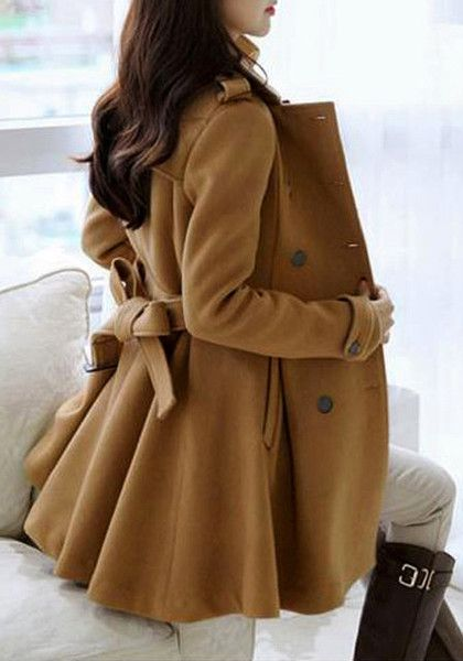Belted Waist Double-Breasted Camel Coat