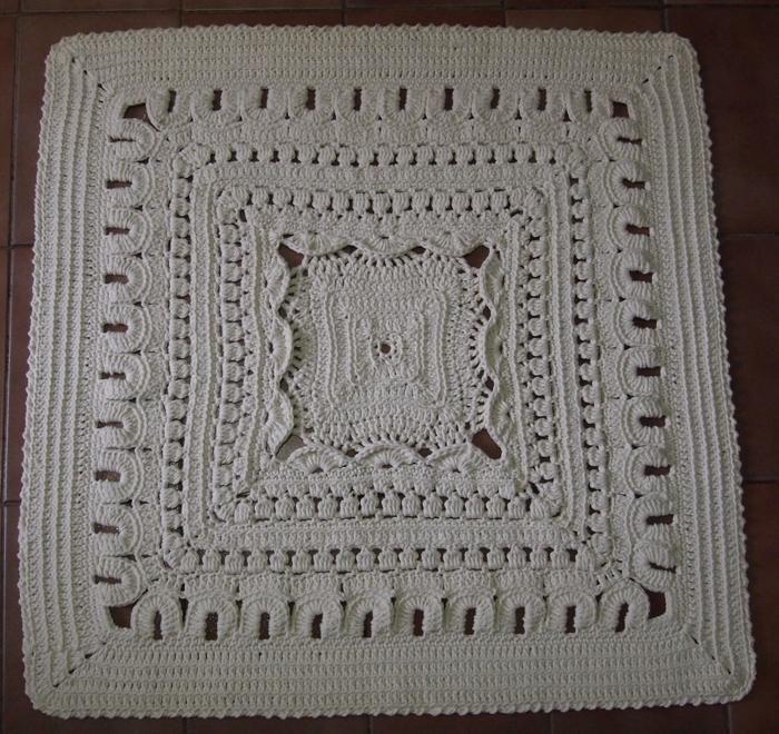 Como fazer tapete de barbante quadrado para iniciantes passo a passo