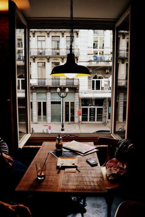 French swing windows in restaurant