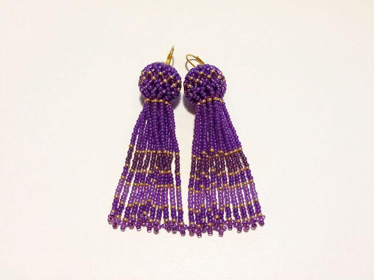 Купить Серьги кисточки из бисера фиолетовые - серьги, серьги ручной работы, серьги серьги серьги