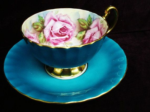 Magnificent Vintage Cup and Saucer  by Aynsley  England    Bone China Four Beautiful Pink Roses