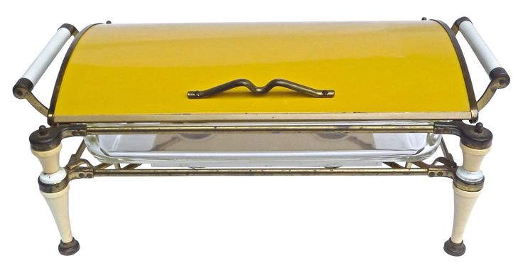 Mid-Century Modern chafing dish warmer with barrel vault-style lid, brass frame, handle, and accents. Features Hollywood Regency-style Bakelite legs and bakelite handles, long glass chafing dish,...