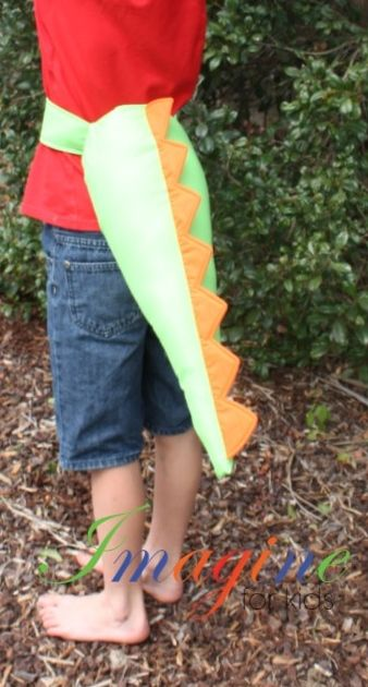 Green dino tail with orange spine.   Easy to put on and off, Machine washable.  Tails come in a wide range of colours and combinations.  To order, contact Imagine For Kids at sales@imagineforkids.com.au  Check out our fabulous range of costumes and accessories on our Facebook page  www.fb.com/imagine4kids
