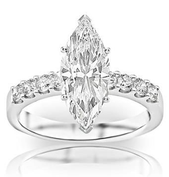Diamond Fashion Ring .98 Ctw 14k Ctw Marquise Cut K White