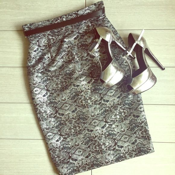 Antonio Melani Metallic Pencil Skirt Stunning! Beautiful jacquard print in metallic sheen. Comes with belt. High waisted to create slim silhouette. Bundle and save with Antonio Melani peplum top- also listed in my closet. New with tags! Reasonable offers welcome via offer tool, retail $99 ANTONIO MELANI Skirts Pencil