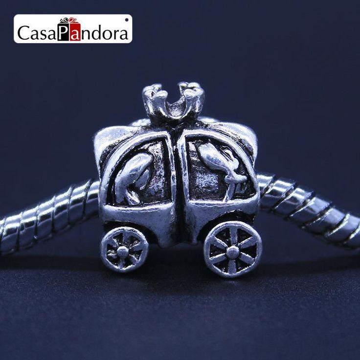 CasaPandora Mode Européenne 925 Plaqué Chariot Tiré Par des Chevaux Fattonny Citrouille Fit Bracelet Charme DIY Fabrication de Bijoux