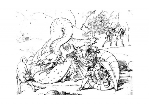 coloring page dragon slayer img - Coloring Pages Dragons Fairies
