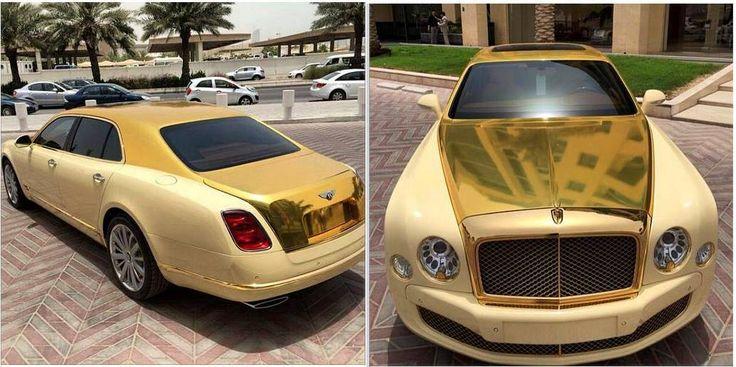 Gold Bentley Mulsanne 1 600x299 at Qatari Showroom Gets a Gold Bentley Mulsanne