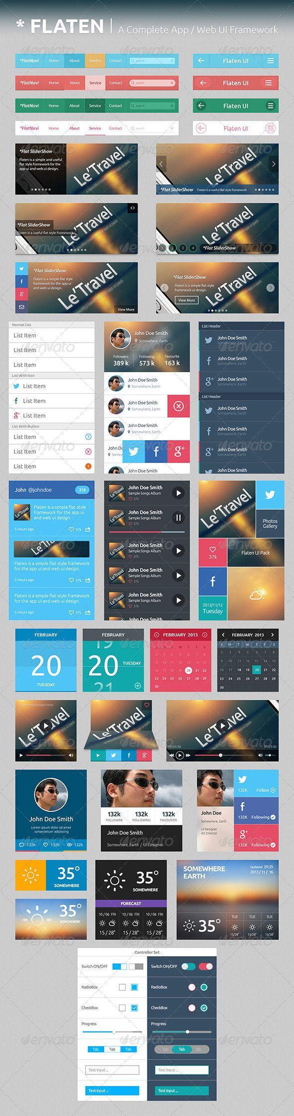 Flaten UI Framework | Flat UI Elements Pack  #GraphicRiver         General Info: Flaten UI Framework is a pack of flat ui elements that can help you to build up your flat style apps and websites quickly and easily .  Features:   Including all your needed UI elements  100% vector shapes – easy to edit and scale  Easy Changeable Colors  Always Update    More: We will always update this pack of UI elements, more elements will be added! Purchase once and get free update forever!  …