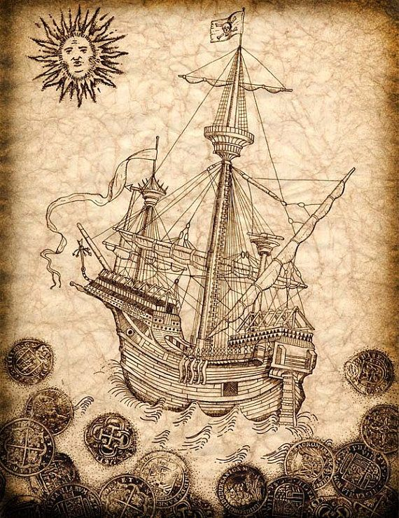 Pirate Ship Art Print 11 x 14 Spanish Galleon by GeographicsArt