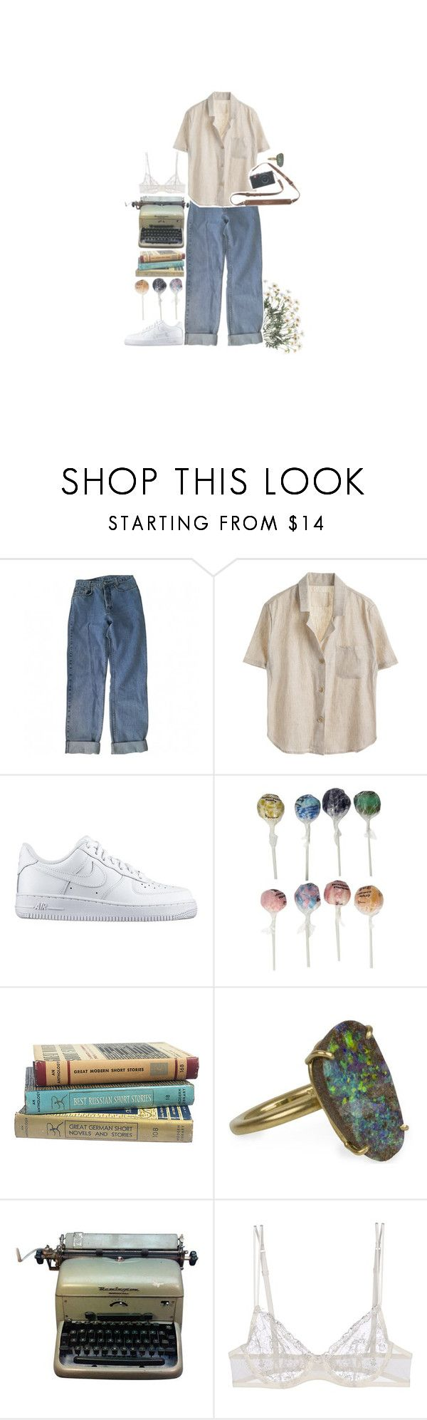 """And I'm crying for yesterday"" by fangirl-tm ❤ liked on Polyvore featuring Levi's, NIKE, Original Gourmet Food Company, Irene Neuwirth, Remington and La Perla"