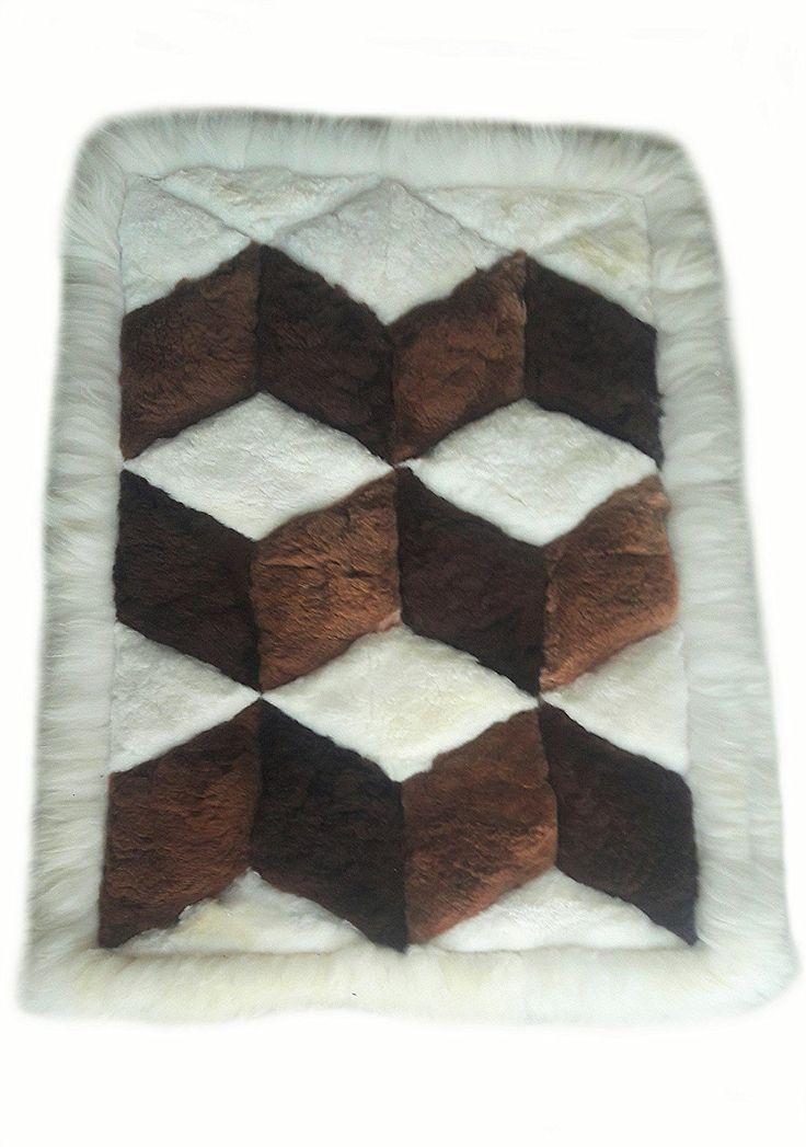 Braun/Weißer original peruanischer Alpaka #Fellteppich Wohnzimmer Teppich Rauten Design (200x180 cm): Amazon.de: Küche & Haushalt