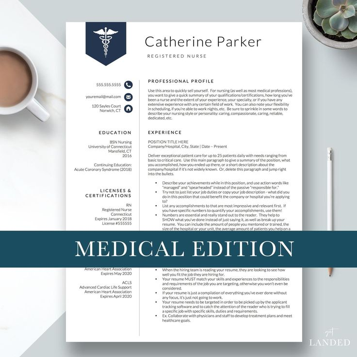 Nursing Resume Template for Word & Pages, Nurse Resume