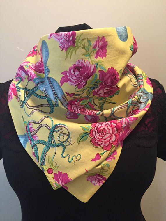 Nautical yellow Nautical Octopus  button up cowl scarf