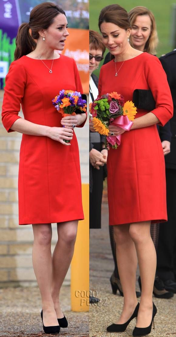Kate Middleton's Baby Bump Is Practically Invisible In This Proper Red Frock!
