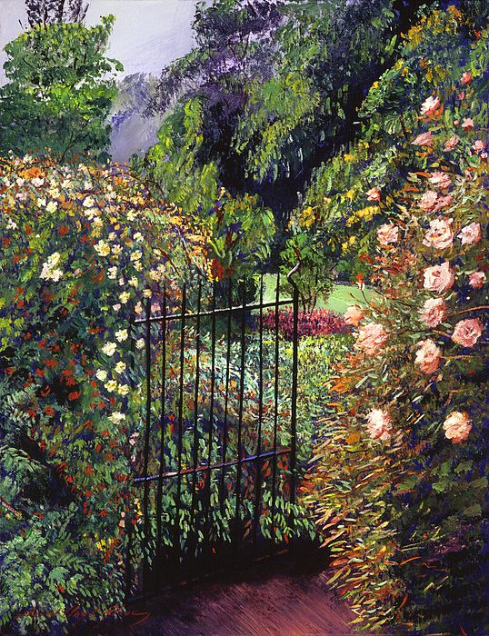 Garden Gate To Formal Gardens. Oil On Canvas Impressionist Painting X By  David Lloyd Glover