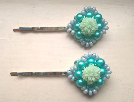 Turquoise Hair Pins Mint Hair Pins Bridal Hair by Glitterperlen