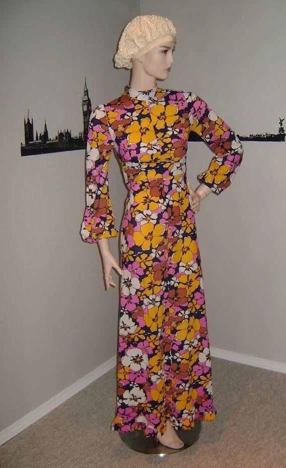 Vintage primavera floreale Abito Maxi, 70s Bold Maxi floreale, abito bohemien, anni 60 moda Carnaby Boho abito fiori, Flower Power Hippie Chic