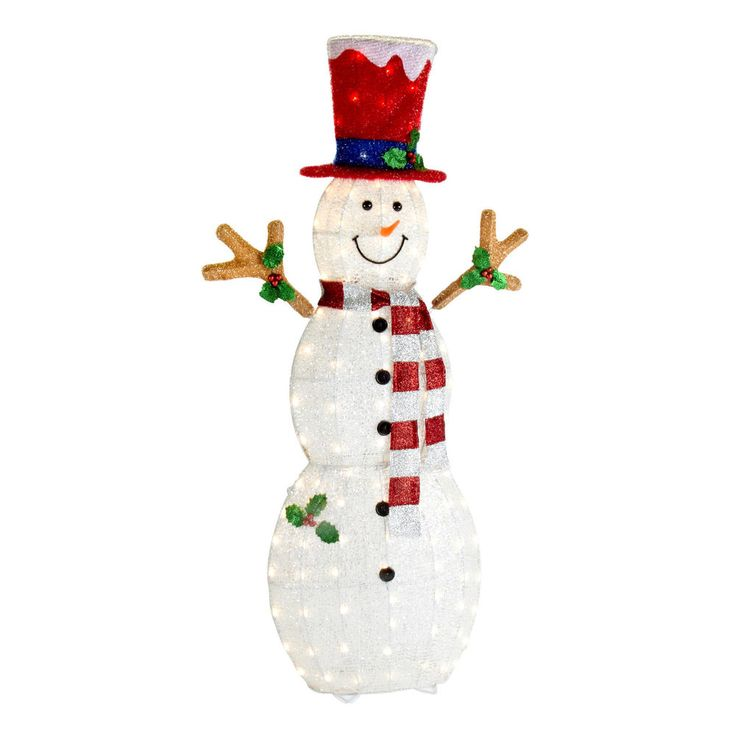 144 Best images about Christmas on Pinterest | Yard decorations ...:60 034 Pre lit Snowman Outdoor Christmas Decoration New Metal and Fabric  Yard Decor,Lighting