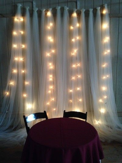tulle and twinkle light backdrop    for behind the cake table! Only use net-lights with wite wire behind the tule.