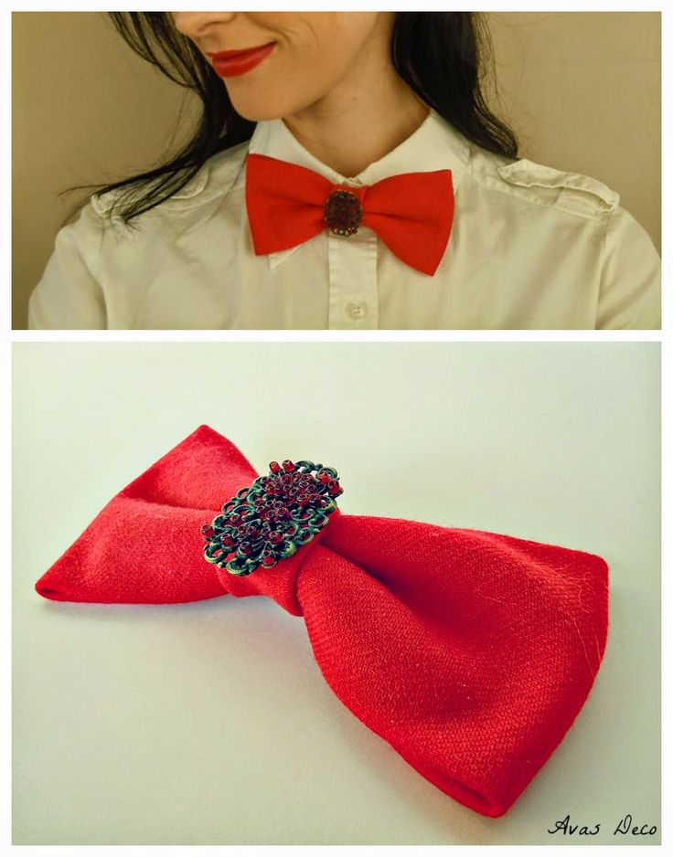 Papion cu brosa lucrat manual/ Handmade bow tie with brooch