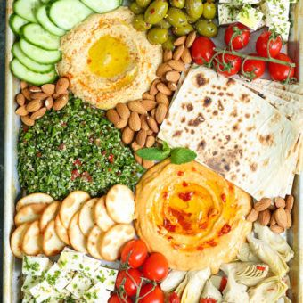 We're always crazy about a fresh and colorful Mezze Platter. Start off your next dinner party right with the delicious Mediterranean tastes we all love.