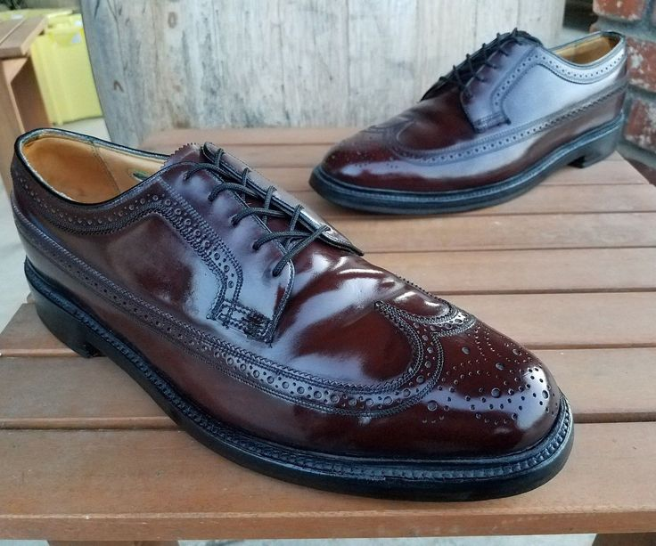 ** SHELL CORDOVAN ** VINTAGE FLORSHEIM IMPERIAL MADE in USA WINGTIP SHOES 10.5E Florsheim imperial. v cleat. double… | Wingtip shoes. Shoes ...