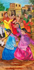 Featured Art - Vasakhi in a Punjab village  by Sarabjit Singh
