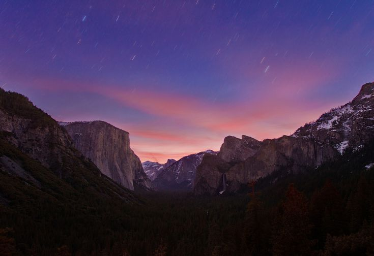 Yosemite National Park Tunnel View Star Trails Sunrise