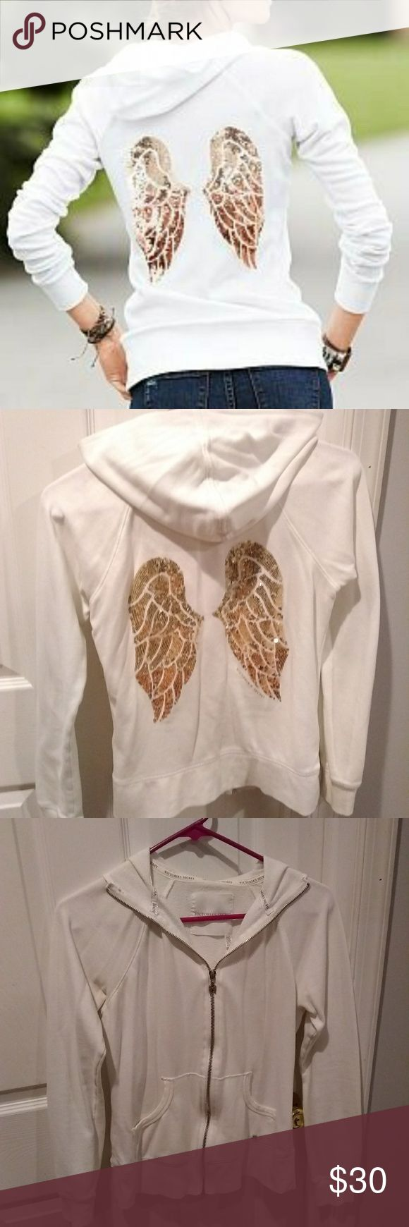 Victoria's Secret Angels white zip up hoodie Great condition only worn a few times! Small tear on the right bottom seam, smaller than my pinky. Originally $50. Gold ombre angel wings on the back and Angel zipper and detail on pocket. Super cute! Size S. Victoria's Secret Jackets & Coats