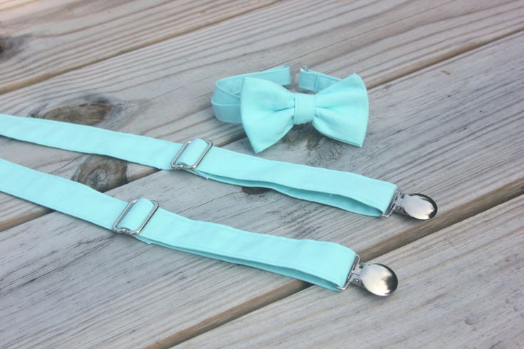 Light Aqua Blue Bow Tie and Suspender set  Men by CottonKandyShop, $32.00