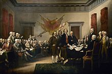 John Trumbull's famous painting is often identified as a depiction of the signing of the Declaration, but it actually shows the drafting committee presenting its work to the Congress.[145]