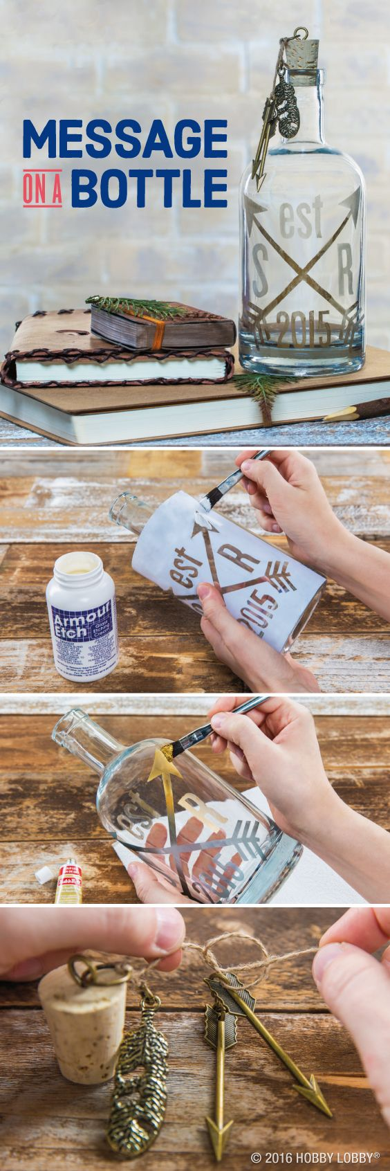 Add some serious style points to your decor by adding gold leafing to glass bottles!    To DIY: 1) Trace design onto self-adhesive stencil blank, & cut out with craft knife. Position stencil on bottle, & apply glass etching cream as shown. Wash off after a few minutes, & remove stencil. 2) Brush gold leaf on design, & wipe excess with paper towel. 3) Attach eyehook to cork stopper. Then connect jump rings to eyehook & charms. Secure charms to stopper with twine knots.
