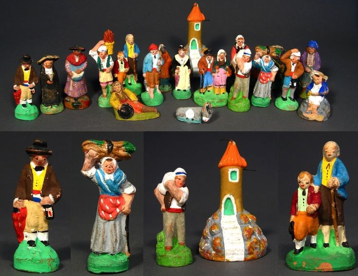 Old French Provence Hand Painted Terra Cotta Santons Nativity Figurines 19 Pcs / eBayhttp://stores.ebay.com/Vintage-French-Antiques