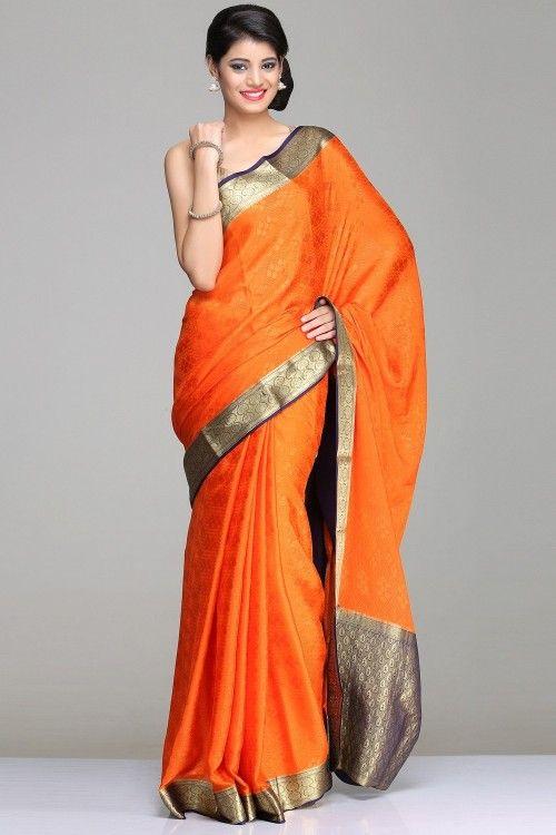 Mysore Silk Sarees | Self-Patterned Orange & Blue Mysore Silk Saree With Gold Zari Border & Pallu | IndiaInMyBag.com