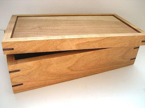 Wooden Box - Solid Cherry and Walnut Handmade Keepsake Box - Wood Keepsake Box…