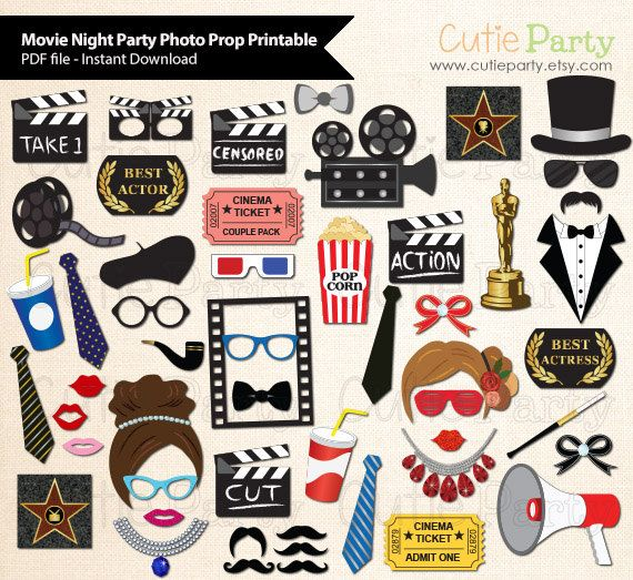Película noche fiesta foto stand Prop Academia por Cutieparty