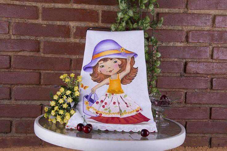 Pintura em tecido - Boneca Cerejinha Artesã: Beth Mattelli  Curso técnica em Pinturas: http://www.vitrinedoartesanato.com.br/curso-tecnicas-pintura-em-tecido-vol-03-com-beth-matteelli-va7276/p
