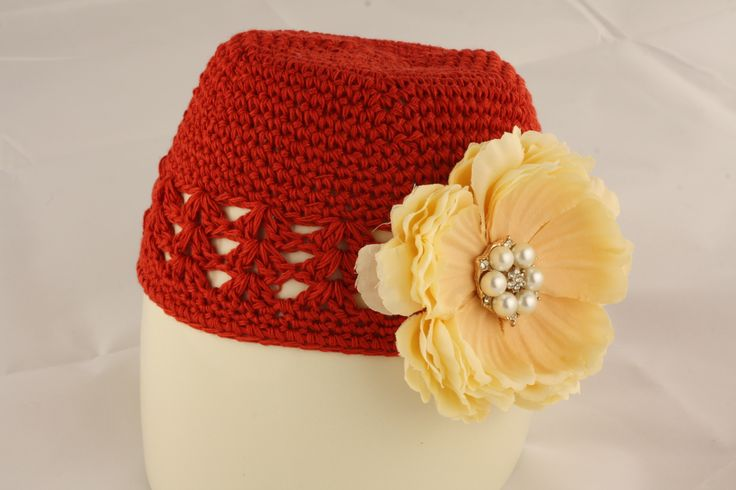 Red Knit Hat with Cream Flower